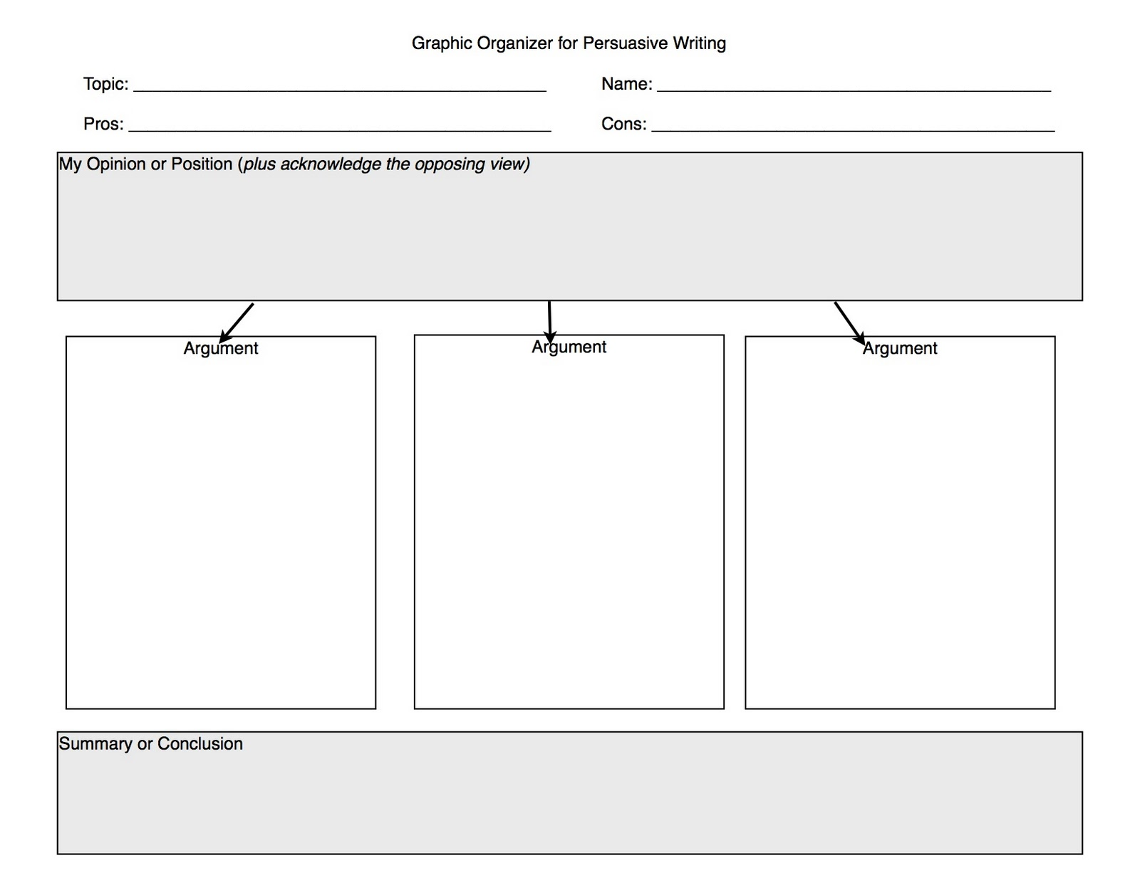 College essay sample graphic organizer